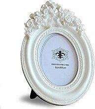 Giftgarden Bilderrahmen Weiß Oval Mini Fotorahmen