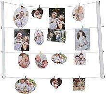 Giftgarden Fotoleine Bilderrahmen Set mit Klammer für multi Bilder 9x13, 10x15,13x18 weiß