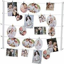Giftgarden Fotoleine mit Klammer DIY Set für Fotodisplay 9x13, 10x15, 13x18 weiß