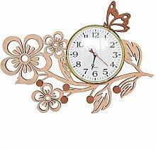 Giftgarden Wanduhr Holz Küche Whonzimmer modern fünf Blätter Blumen mit Schmetterling Uhr Wand Deko Geschenk Freund