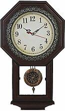 Giftgarden Wanduhr Vintage Schwarz Küche Retro Wohnzimmer mit Pendel Design shabby chic braun Uhr Wand Pendeluhr antike Dekoration Geschenke für Freunde