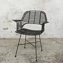 GIGA Esstischstuhl BADUNG Rattan schwarz Stuhl
