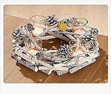 Gilde Adventskranz Holzkranz mit 4 Gläsern, Ø 30