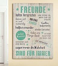 GILDE Bild Weisheit Freunde Creme Mint/schwarz