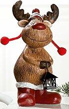 GILDE Dekofigur lustiger Elch witzig trendig weihnachtsdeko Geschenkidee Laterne 20cm