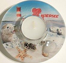 GILDE Dreamlight Teelichthalter Nordsee,aus Glas