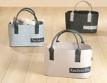 Gilde Filz Tasche Shoppingtasche Zeitungskorb L 20 x B 40 H 26 cm Kaufsüchtig beige