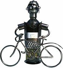 Gilde Flaschenhalter Fahrrad für Weinflaschen Dekoration Metall Weinflasche kunstvolle Deko Wein Design 32cm hoch