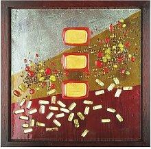 GILDE Glas Art Bild Goldregen Fusing