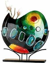 GILDE Glas Art Vase Sunrise Kunstwerk Objekt