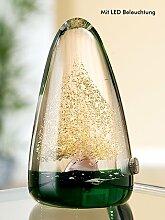 Gilde Glas LED Pyramide mit Baum grün,gold,