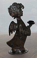 Gilde Handwerk Engel mit Teelichtleuchter Holz Metall braun silber 23614 Dekoration Geschenkidee Weihnachten WInter