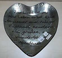Gilde Handwerk Herzschale mit Spruch Die Liebe ist wie das Leben selbst kein bequemer und ruhiger Zustand sondern ein großes ein Wunderbares Abendteuer Glas 40962 Dekoteller Teller Schale Herz Dekoration Geschenkidee