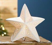 Gilde Handwerk Lampe Stern Facette creme Porzellan