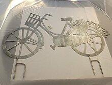 Gilde Handwerk Stecker Gartenstecker Fahrrad grau Metall 68891 Willkommen Gartendeko Garten Dekoration Geschenkidee