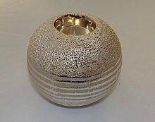 Gilde Handwerk Teelichthalter Teelichtleuchter Leuchter Windlicht silber Champagner Keramik 47641 Dekoration Geschenkidee