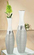 GILDE Keramik Bodenvase Lucente Silber/Weiss Glas