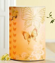 Gilde Lampe 'Butterfly', 18 x 10 x 28 cm, creme/gelb