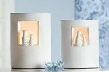 Gilde Lampe 'Katzenpaar', 25 cm, creme