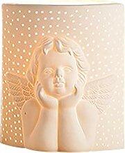 GILDE Lampe Engel - aus Porzellan mit Lochmuster