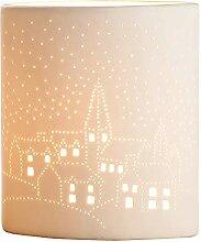 GILDE Lampe Kirche - aus Porzellan mit Lochmuster