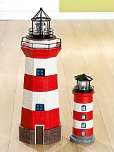 Gilde LED-Solar Leuchtturm rot-weiß, Kopf schwarz