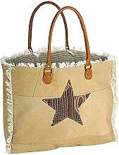Gilde Leinentasche B 45 x H 55 cm XXL-Tasche Stern beige, braun mit Kunstledergriff und Applikationen Material: 85% Leinen, 10% Kunstleder, 5% Metall