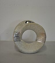 GILDE Lochvase Silber Keramik 23x23cm 47649