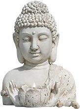 GILDE Magnesia BUDDHA BUDDA Outdoor mit Teelichthalter H 30 cm B 14 cm beige 36216
