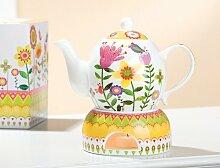 Gilde Porzellan Kanne + Stövchen Blumengarten