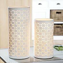 Gilde Porzellan Lampe B 12 cm H 28 cm Zylinder Ethno