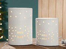 GILDE Porzellan Lampe Ellipse Häuserzeile L 8 x B