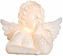 GILDE Porzellan Lampe Engel - in weiß E 14 H 23,5