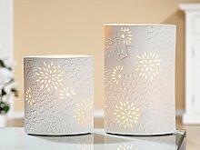 GILDE Porzellan Lampe Prickellampe Tropikal Weiss