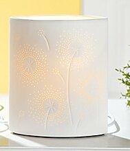 GILDE Porzellanlampe Tischlampe Nachttischlampe Stimmungslampe Blume mit Durchbrüchen, 20 cm