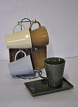 Gilde Set TasKüche Tasse mit Untersatz 4er 49084