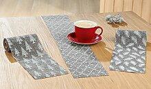 GILDE Tischläufer, Kunststoff, grau/Creme, 3m,