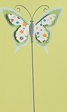 GILDE trendigen Gartenstecker Gartenstab Gartendeko Schmettling,grün mit bunten Blümchen, 60 cm