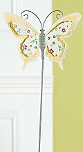 GILDE trendigen Gartenstecker Gartenstab Gartendeko Schmettling, gelb mit bunten Blümchen, 60 cm