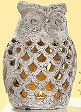 GILDE Windlicht Eule Uhu Kautz Gartendeko Stone Art grau antik mit Durchbruch, 22 cm