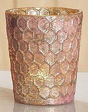 GILDE Windlicht Glas rosa D9cm H10cm