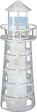 GILDE Windlicht Leuchtturm - aus Eisen in antik
