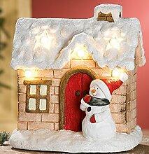 GILDE Winterhaus mit Schneemann und LED