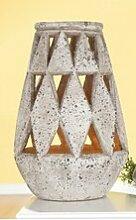 Gilde Zement Windlicht Triangel antik grau Höhe 46cm