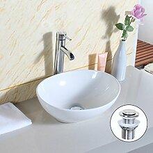 Gimify Badezimmer Waschbecken Aufsatzwaschtisch Oval Keramik Waschtisch für Wandmontage mit Dump 33x40x14.5cm