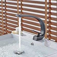 Gimili Badezimmer Waschbecken Wasserhahn mit heißem Wasser Waschbecken-Wasserhähne Große Gebogene Chrom