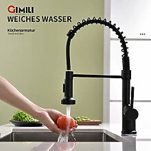 GIMILI Wasserhahn Küche Schwarz Ausziehbar