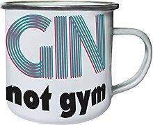 Gin not gym Retro, Zinn, Emaille 10oz/280ml Becher