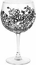 Gin Tonic Glas, handdekoriert, schwarzes