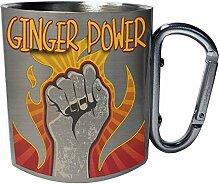 Ginger power Edelstahl Karabiner Reisebecher 11oz
